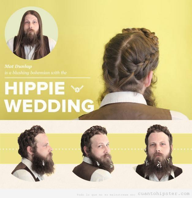 Foto graciosa chico pelo largo peinado boda hippie hipster