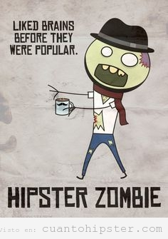 Ilustración de un hipster zombie