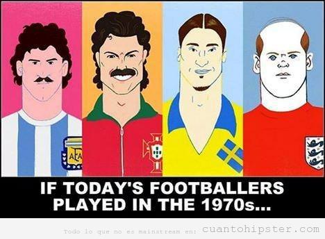 Dibujo de futbolistas actuales con el look de los años 70