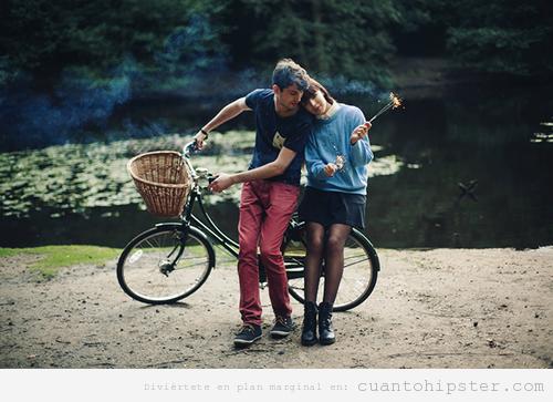 Foto pareja hipster