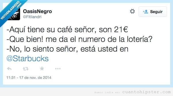 Tweet gracioso anuncio lotería nacional versión Starbucks