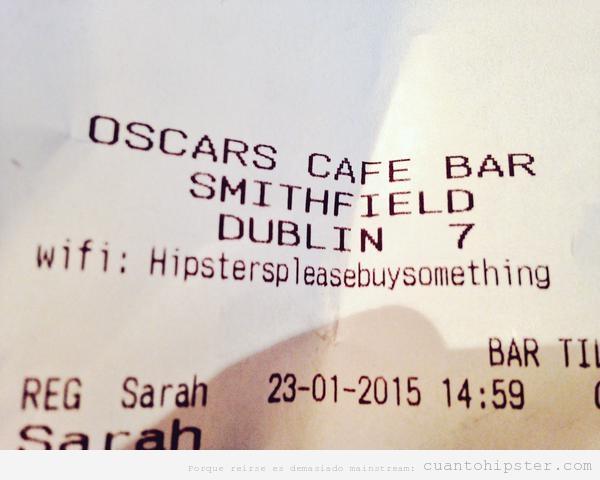 Ticket café bar con contraseña hipsterspleasebuysomething