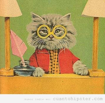 Dibujo de un gato con ropa vintage y gafas amarillas