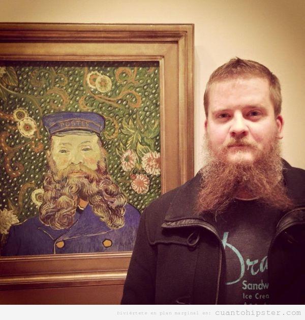 Foto chico hipster con la barba partida en dos