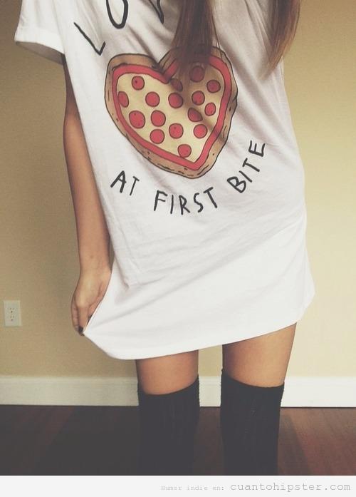 Camiseta original amor primer mordisco pizza