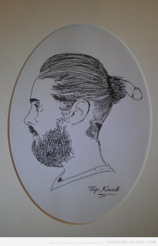 Dibujo gracioso moño hipster con un pene