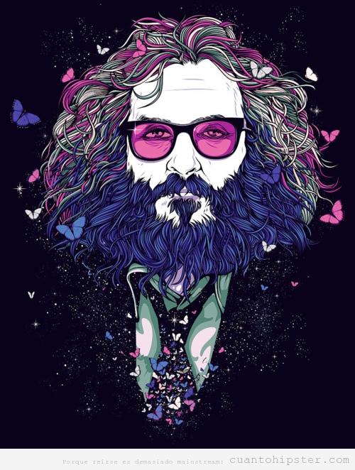 Ilustración hombre con barba larga y mariposas