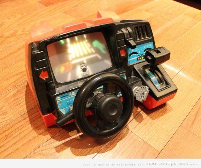 Juguete antiguo simulador coche con volante y marchas