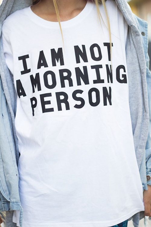 Camiseta hipster con mensaje I'm not a morning person