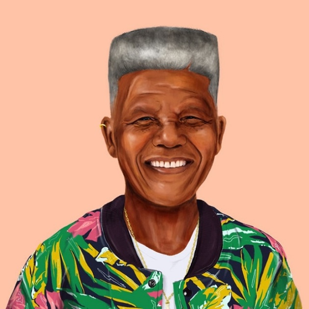 Ilustración de Nelson Mandela con look hipster