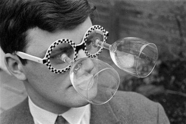 Gafas vintage de culo de copa de cristal