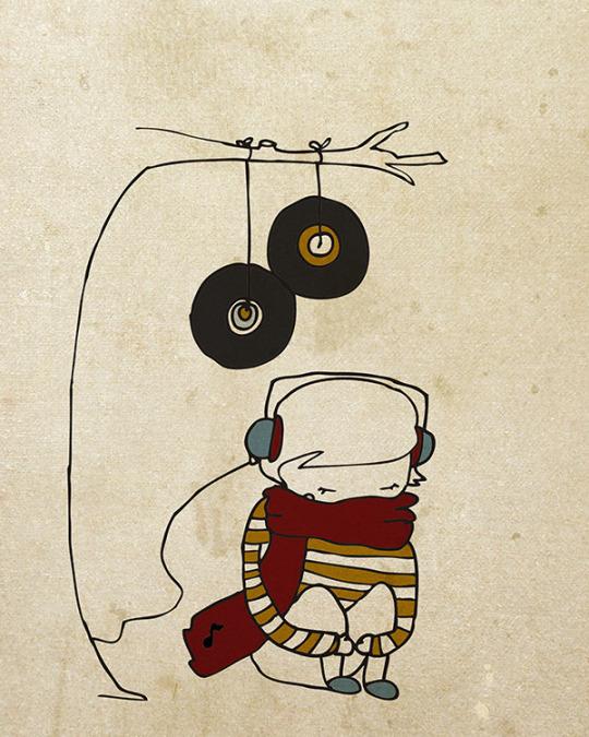Ilustración bonita chico indie escuchando vinilos