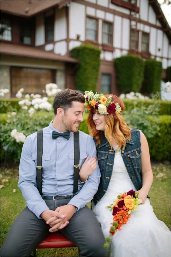 Novios boda hipster