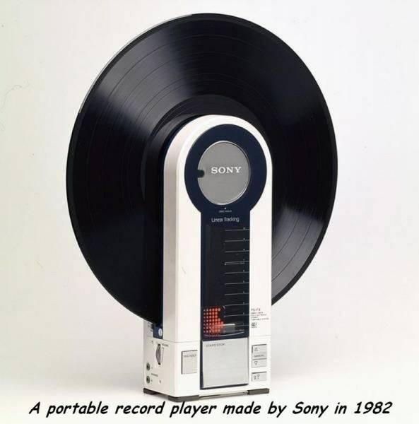 Reproductor portátil de vinilos, marca Sony, 1982