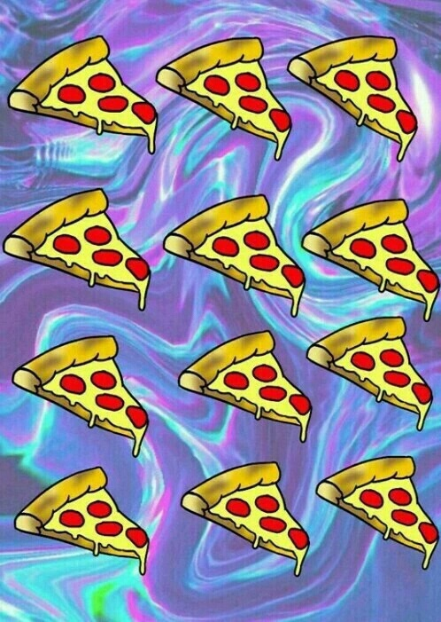 Estampado de pizzas sobre fondo psicodélico