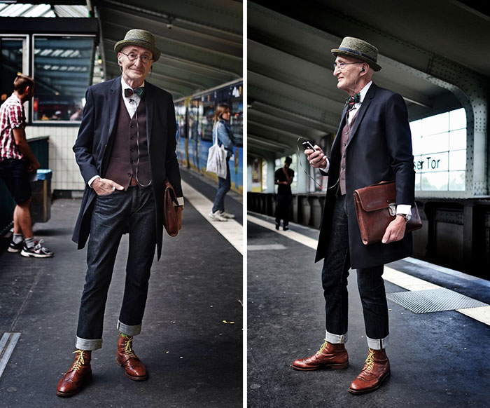Abuelo alemán con look hipster con mucha clase