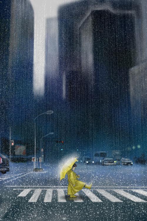 ilustración bonita lluvia en la ciudad con paraguas amarillo