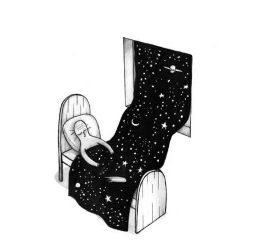 Ilustración bonita dormir bajo manta de estrellas