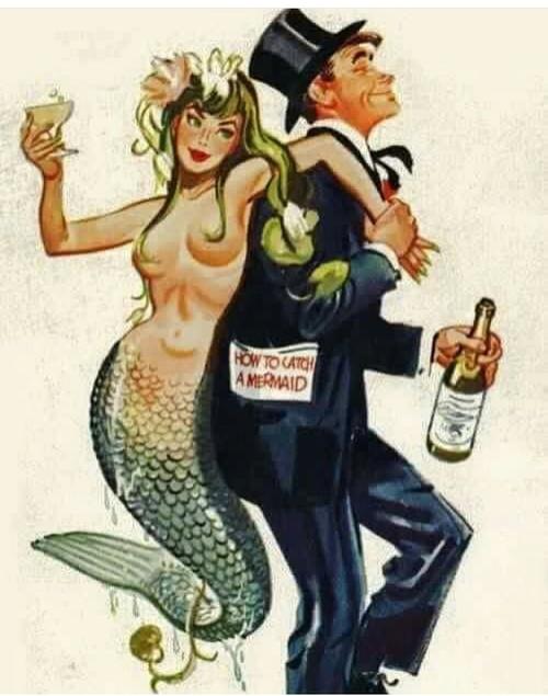 Ilustración vintage cómo atrapar a una sirena