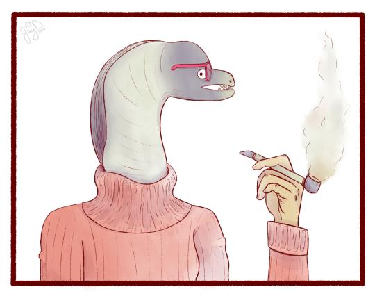 Dibujo dinosaurio beatnik, jersey cuello cisne y fuma en pipa