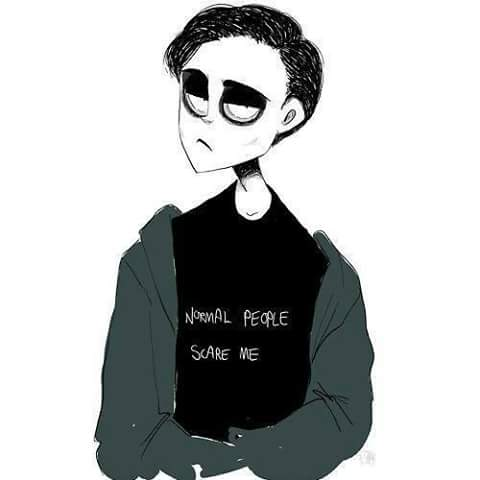 Chico emo camiseta Normal people scares me