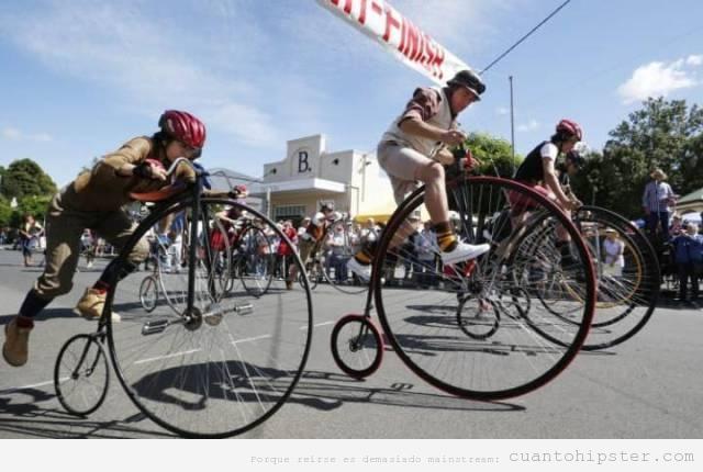 Carrera de bicicletas de rueda delantera grande