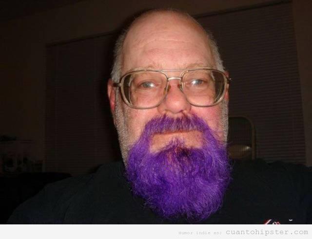 Abuelo hipster o yayohipster con barba color lila