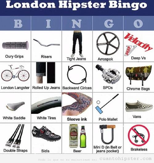 Cartón bingo hipster de Londres