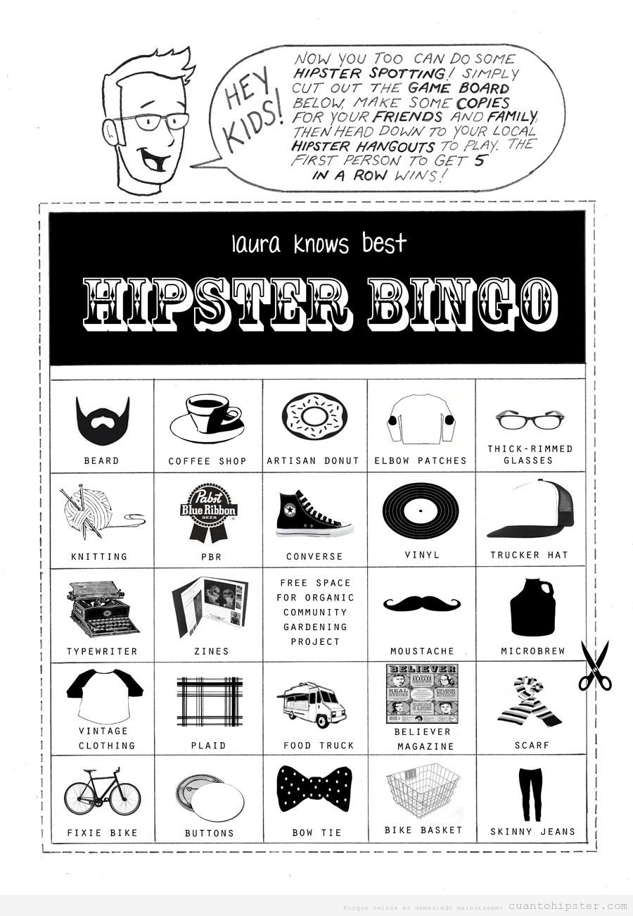 Cartón bingo hipster común
