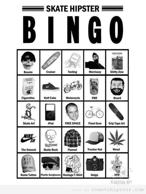 Cartón bingo hipster skater