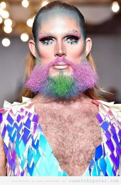Pasarela moda hombre o mujer con barba de colores WTF