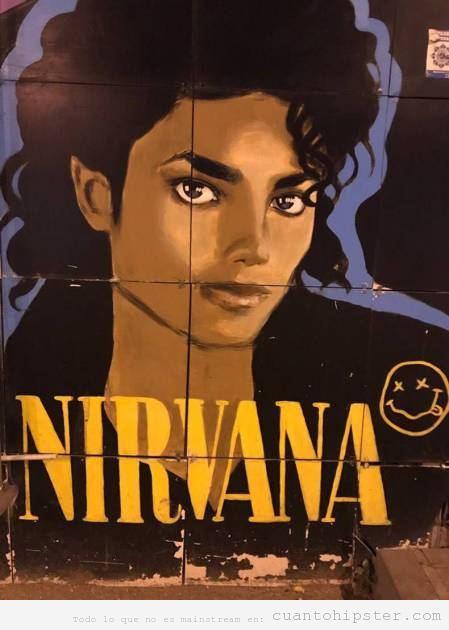 Mural gracioso Michalel Jackson y Nirvana