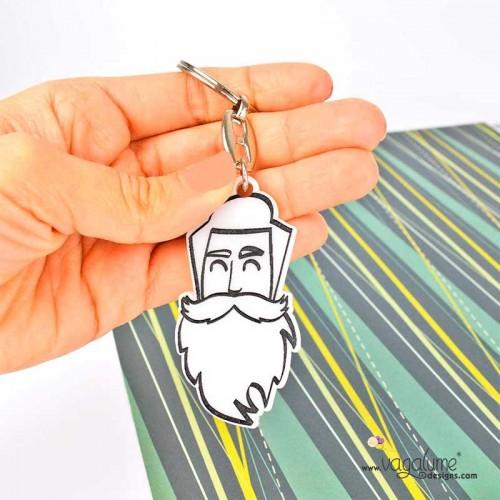 Llavero hipster con barba
